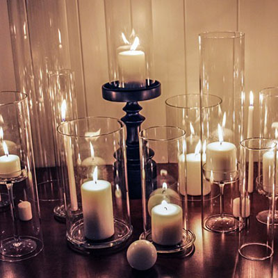 Open-Ended Hurricane Glass Candle Holders