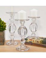 Baluster Glass Candlestick, Pillar & Taper Candle Holder. Set of 3
