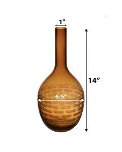 amber orange tear drop glass vases