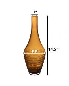 """Amber Orange H-14.5"""" D-1"""" Carved Decorative Vase"""