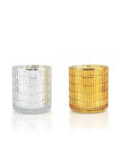 gold and silver glass candle holders