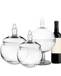 glass apothecary jar set of 3