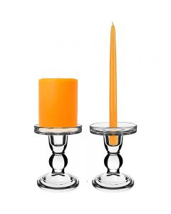 glass pedestal pillar candlestick taper candle holder