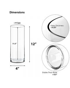 Clear Glass Cylinder Vase