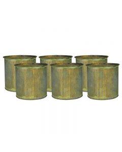 "Ridged Rustic Aged Finish Zinc Cylinder Petite Pot 3"" x 3"""