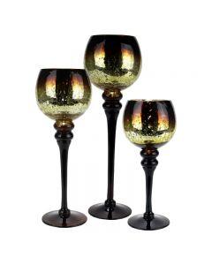 long stemmed mercury glass candle holder