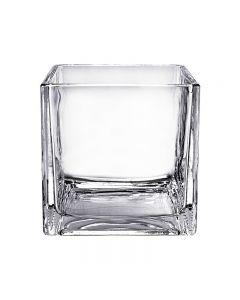 "Glass Cube Vase H-6"" Open-6"" x 6"""