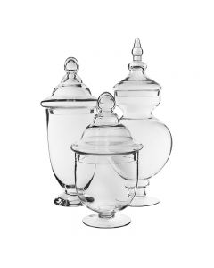 glass apothecary jars set of 3