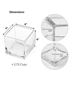 """Glass Cube Vase H-4"""" Open-4"""" Votive Candle Holder (Multiple Packing)"""