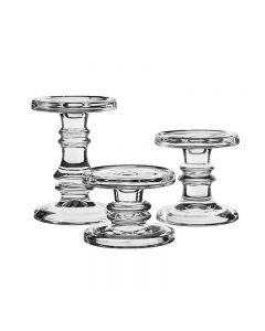 Classic Glass Candlesticks, Pillar & Taper Candle Holders.Set of 3