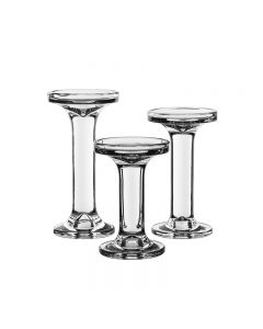 Christmas Glass Candlesticks, Taper & Pillar Candle Holders. Set of 3