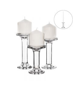 glass pillar and taper candle holder