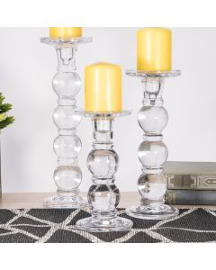 Bubble Glass Candlesticks, Pillar & Taper Candle Holders, Set of 3