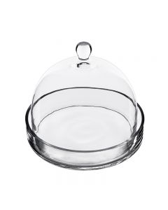 "Glass Cloche Bell Jar w/ Tray for Christmas. H-7.5"" D-8"""