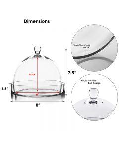 "Glass Cloche Bell Jar Terrarium Dome w/ Tray, H-7.5"", D-8"""