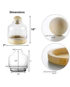 glass terrarium vase with wood stopper