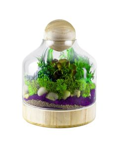 glass terrarium vase with wood stopper