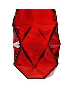 red geometric glass vases