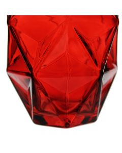 red prism honeycomb glass vases