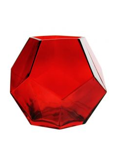 red prism geometry glass vases