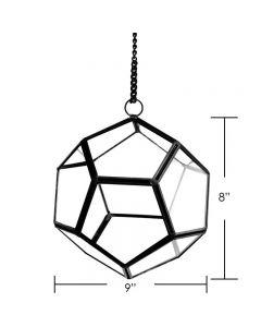 """Hanging Geometric Terrarium H-6"""" D-6"""" Metal Frame w/ Chain"""