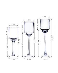 glass pedestal long stem candle holder