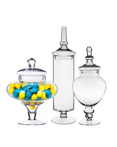 "Glass Apothecary Candy Buffet Jar Set of 3. H-10"",14.75"",22"""