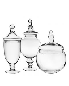 GLASS APOTHECARY JARS SET