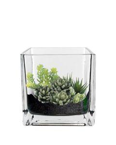 "Glass Cube Vase H-4.75"" Votive Candle Holder (Multiple Packing)"