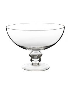 """Glass Footed Compote Fruit Bowl. H-6"""" D-8"""" Kitchen Pedestal Centerpiece"""
