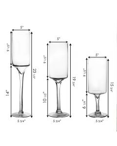 Long Stem large glass candle holder