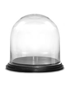 glass cloches domes with black wood base