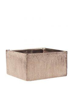 "Etched copper Ceramic Square Dish Garden H-4"" 8x8"