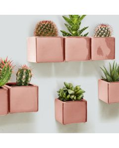 hanging rose gold cube planters