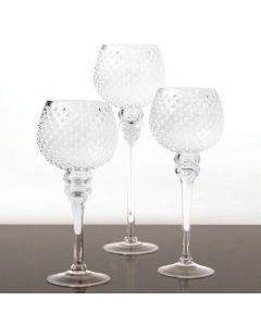 hobnail-silver-glass-candle-holder-set