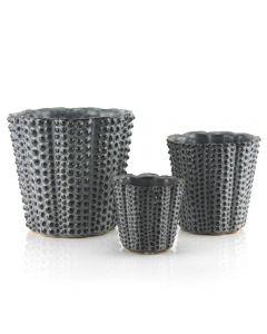 Hobnail Tapered Ceramic Cylinder Vase