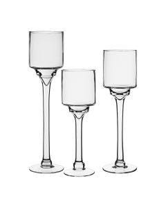 "Long Stem Floating Candle Holder Trio Set 12"" 14"" 16"" x 4"""