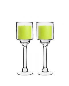 glass pedestal stem candle holder hurricanes
