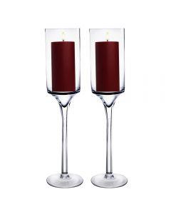 Glass Candle Holder Long Pedestal Stem