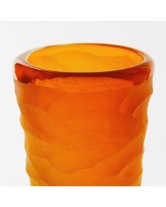 Orange Green Carved Vase