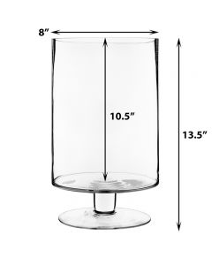 "Stem Pedestal Glass Candle Holders H-13.5"" Open-8"" Large"