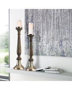 brown pillar candle holder