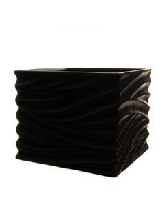 "Wavy Cube Vase Black H-6.25"""