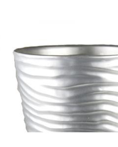 "Ceramic Taper Down Wavy Cylinder Planter Pot Satin Silver H-8""-1"