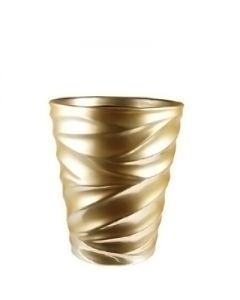 "Ceramic Taper Down Cylinder Pot Satin Gold. H-8"""