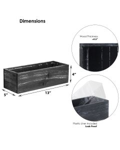 black rectangle wood planter box