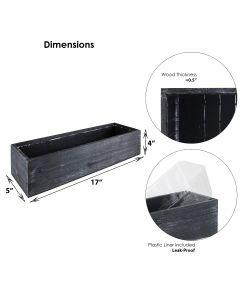 black wood planter box 17 inches