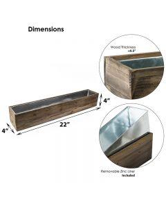 4 inch Wood Rectangle Planter Box w/ Zinc Liner Natural