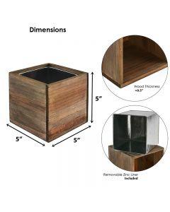 Wood cube planter vases