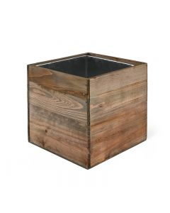6 inch wooden planter box with zinc liner